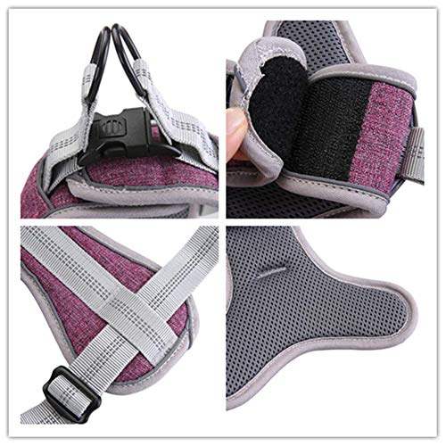 JSM Nylon Reflective No Pull Dog Vest Harness with Soft Padded Well-Matched Most Leash for Training Small Medium Large Dog
