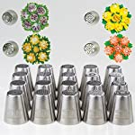 SLK russian pipings tips 12 ✅ PREMIUM QUALITY: Our Icing piping nozzles s are made of 304 (18/8) kitchen grade top-quality stainless steel. couplers are BPA-free. best quality on the market! frosting bags and tips ✅ NUMBERED TIPS: 50 Different new design Russian icing tips, Base diameter: 3.7cm, Height: 4.2cm, top diameter: 2.5cm - OUR SLK icing tips are laser-branded with our logo + numbers, so you can easily get the specific icing that you want! ✅ VALUE4MONEY - EVERYTHING YOU NEED IN ONE PACKAGE: includes TONS of bonuses: A leaf tip, 3-color coupler, single-coupler, 5 cleaning brushes, 40 disposable pastry bags, silicon bag, 5 silicon cub-cake cups, plastic scissors and a printed flower chart!
