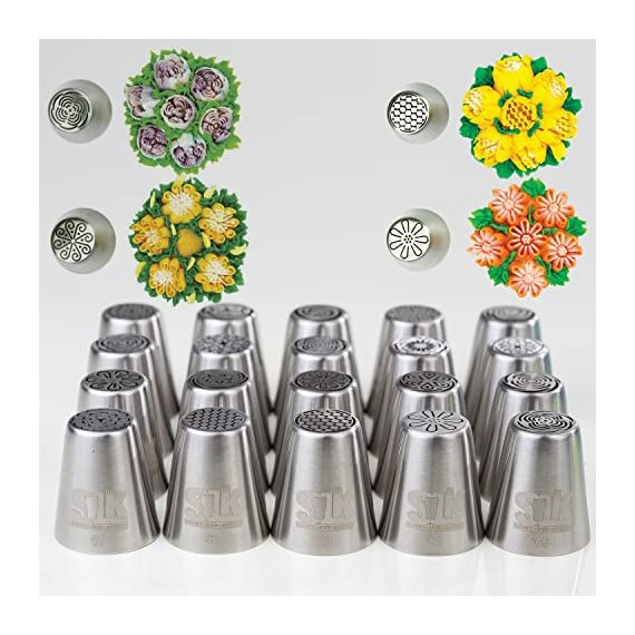 SLK russian pipings tips 4 ✅ PREMIUM QUALITY: Our Icing piping nozzles s are made of 304 (18/8) kitchen grade top-quality stainless steel. couplers are BPA-free. best quality on the market! frosting bags and tips ✅ NUMBERED TIPS: 50 Different new design Russian icing tips, Base diameter: 3.7cm, Height: 4.2cm, top diameter: 2.5cm - OUR SLK icing tips are laser-branded with our logo + numbers, so you can easily get the specific icing that you want! ✅ VALUE4MONEY - EVERYTHING YOU NEED IN ONE PACKAGE: includes TONS of bonuses: A leaf tip, 3-color coupler, single-coupler, 5 cleaning brushes, 40 disposable pastry bags, silicon bag, 5 silicon cub-cake cups, plastic scissors and a printed flower chart!