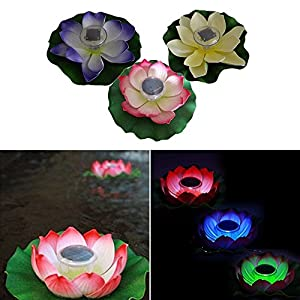 OWIKAR Solar Floating Lotus Light 2V 60mA Solar Powered Pool Lights LED Color Changing Pond Lights Waterproof Flower Lamp for Outdoor Garden Pond Fountain Path Landscape Decoration (Red)