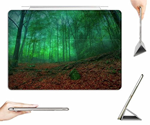 iPad Air Case + Transparent Back Cover - Misty Green Forest Enchantment - [Auto Wake/Sleep Function] [Ultra Slim] [Light Weight]
