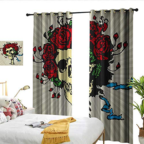 Perfectble Rose Tattoo Art Style Graphic Skull in Red Flowers Crown Halloween Composition Print Beige Multicolor Indoor Curtain -