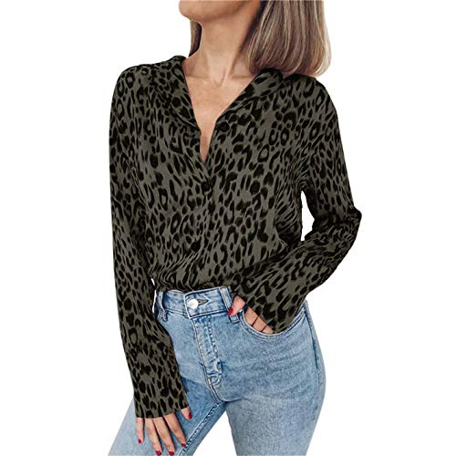 (TIFENNY Fashion Sping Tops for Women Long Sleeve Leopard Print Button Turn-Down Collar Casual Blouse Shirt Green)