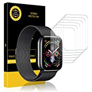 LK [6 Pack] Screen Protector for Apple Watch (38mm Series 3/2/1 40mm Series 4 Compatible), Liquid Skin [Max Coverage] [Anti-Bubble] HD Clear with Lifetime Replacement Warranty
