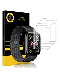 [6 Pack] LK Screen Protector for Apple Watch (38mm Series 3/2/1 40mm Series 4 Compatible), [Max Coverage] [Anti-Bubble] HD Clear with Lifetime Replacement Warranty