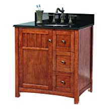 "Foremost KNCABK3122D Knoxville 31"" W x 22"" D Vanity in Nutmeg with Granite Top in Black"