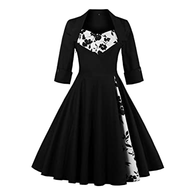 Women Dresses,Womens Vintage Style Rockabilly Evening Prom Swing Three Quarter Dress (UK: