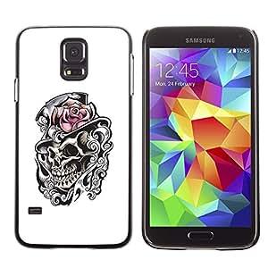Shell-Star Arte & diseño plástico duro Fundas Cover Cubre Hard Case Cover para SAMSUNG Galaxy S5 V / i9600 / SM-G900F / SM-G900M / SM-G900A / SM-G900T / SM-G900W8 ( Rose Top Hat Skull Heath White Black )
