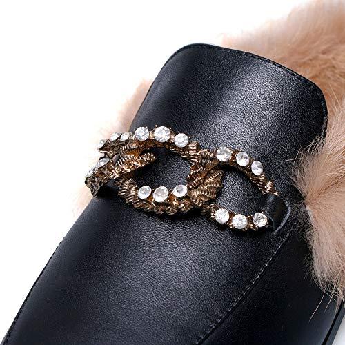Round Pump Slip Genuine Dress Toe On Leather Handmade Women's Heel Seven Nine Shoes Flat Black Comfortable TOqIwx