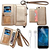 iPhone 7 Plus Wallet Case, iPhone 7 Plus Case, Bonice Premium Leather Zipper Wallet Multifunctional Detachable Removable Purse Card Slot Pocket Wallet Pouch Protective Cover for iPhone 7 Plus - Gold