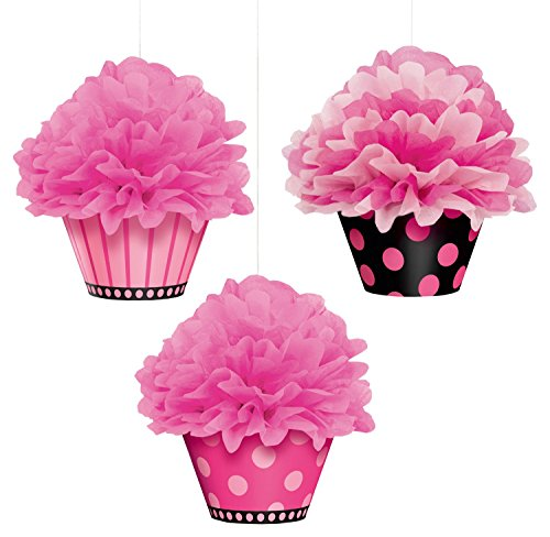 Another Year of Fabulous Adult Birthday Party Hanging Cupcake Fluffy Decoration, Pack of 3, Pink/Black, 12