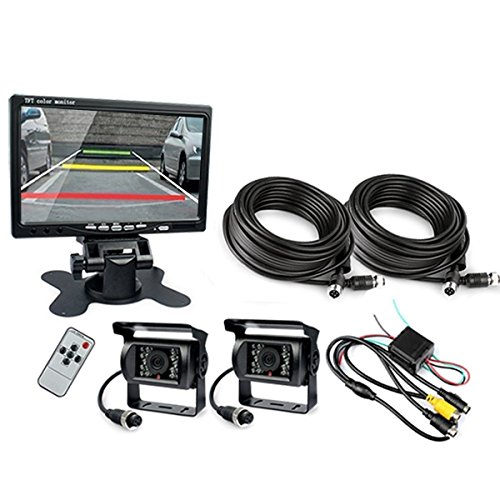 Ehotchpotch Backup Camera Kit for Bus Truck Vehicle, 7'' Color TFT LCD Widescreen16:9 Rearview Monitor, 4 Pin Connectors Waterproof CCD Camera IR Night Vision, Distance Scale Lines by Ehotchpotch (Image #1)