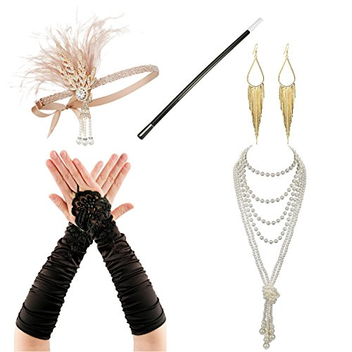 Headbands Set Costume Accessory - Zivyes 1920s Accessories Flapper Costume for Women Headband Earrings Necklace Gloves