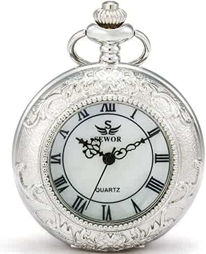 SEWOR Quartz Pocket Watch Shell Dial Magnifier Case with Two Type Chain (Leather+Metal) (Silver)