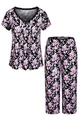 n Printed Top with Capri Pants Pajama Set Black Pink Floral L(576510) (Womens Pajamas Set Top Pants)