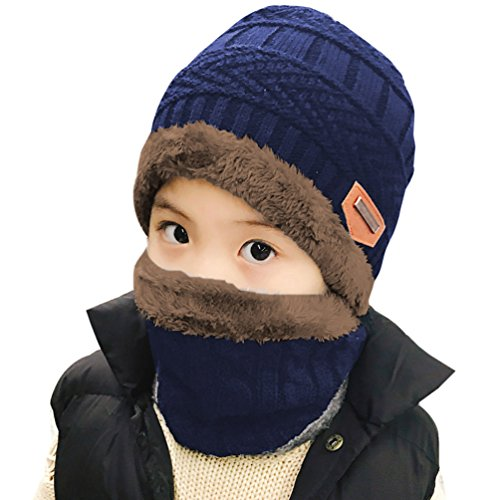 - Winter Hat Scarf for Boys Girls Kids (5-14 Years) Slouchy Beanie Windproof Warm Knit Snow HINDAWI Infinity Scarf Skull Cap Navy Blue