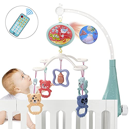 Baby Crib Mobile Crib Toys for Infant Musical Mobile with Projector Timing Function and Remote Control 360° Rotation Removable Baby Rattle Baby Toys 0~24 Months