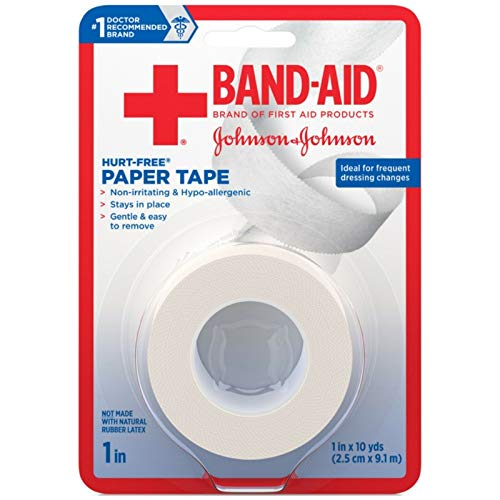 Band-Aid Brand First Aid Hurt-Free Medical Adhesive Paper Tape for Wound Dressings, 1 in by 10 yd