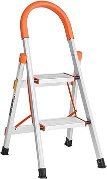 Luisladders Escalera de 2 peldaños de aluminio, ligera, multiusos, portátil, plegable, escalera para el hogar, taburete escalera plegable, 330 libras: Amazon.es: Bricolaje y herramientas