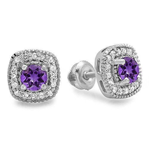 10K-White-Gold-Ladies-Halo-Stud-Earrings