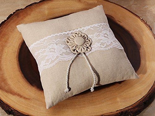 Rustic collection Burlap and Lace ring pillow by Cassiani