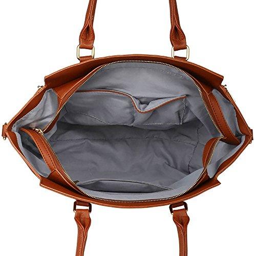 ANNA GRACE - Bolso de tela de piel sintética para mujer Design 1 - Nude