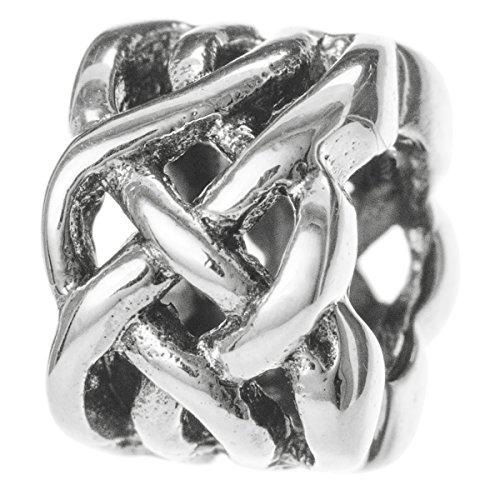 (Dreambell 925 Sterling Silver Celtic Ribbon Love Knot Weave Flower Bead For European Charm Bracelet)