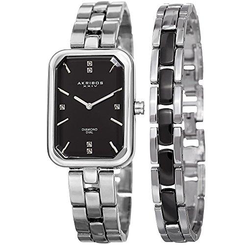 Diamond Self Winding Bracelet (Akribos XXIV Women's Quartz Stainless Steel Casual Watch, Color:Silver-Toned (Model: AK995SSB))