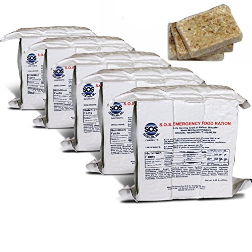 S.O.S. Rations Emergency 3600 Calorie Food Bar - 3 Day / 72 Hour Package with 5 Year Shelf Life- 5 Packs ()