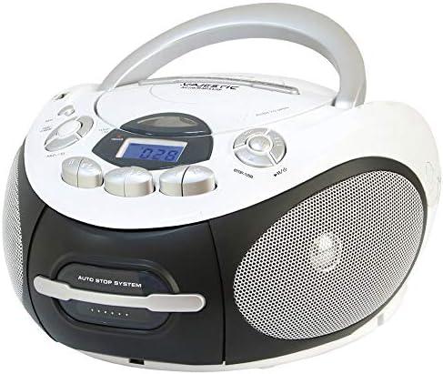 Majestic AH 2387R MP3 USB - Boom Box portátil con Reproductor de CD/MP3, Entrada USB, Grabador de cajón, Toma de Auriculares, Color Blanco