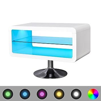 vidaXL Mesita Mueble Extensible Soporte para TV Blanco Brillante con Luces LED, 80 cm