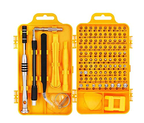 Precision Screwdriver Set - 110 in 1 professional repair tool kit magnetic driver kit for iphone/ipad/android/laptop/pc etc (Yellow)