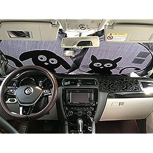 "Car Windshield Sunshade with Pet Design, IC ICLOVER Cute Cartoon Design Front Auto Car Windshield Sun Shade Folding Silvering Sun Visor - UV Coating for UV Ray Deflector (59""x33"")"