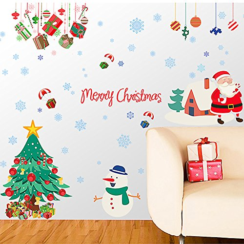 Cityeast Christmas Window Stickers Removable Wall Decals DIY Home Decor Glass Door Decal Showcase Stickers Decoration for Christmas New Year(Santa - Wall Christmas