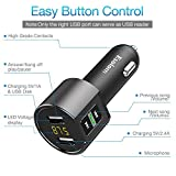 Bluetooth FM Transmitter for Car, ESOLOM Wireless in-Car FM Radio Adapter, MP3 Player Hands-Free Calling Car Kits with Dual USB Port Car Charger 5V/2.4A&1A, Support Voltage Detection (Grey)
