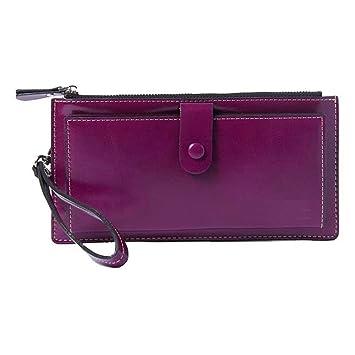 JCH-lug Wallet Bolso De Mano De Cuero Femenino Carteras De Moda Monederos De Mujer Bolsos De Pulsera con Correa Púrpura 18.5X9.5cm: Amazon.es: Equipaje