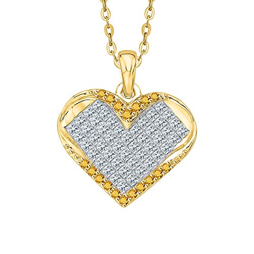 - KATARINA Princess Cut Diamond and Round Citrine Heart Cluster Pendant Necklace in 14k Yellow Gold (1 cttw, G-H, VS2-SI1)