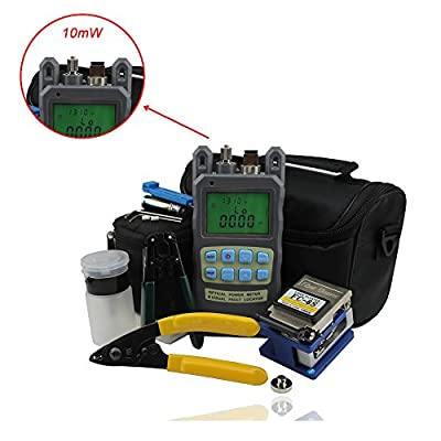 Zoostliss 8 In 1 Fiber Optic FTTH Tool Kit with FC-6S Fiber Cleaver and 2 in 1 Optical Fiber Power Meter, Visual Fault Locator