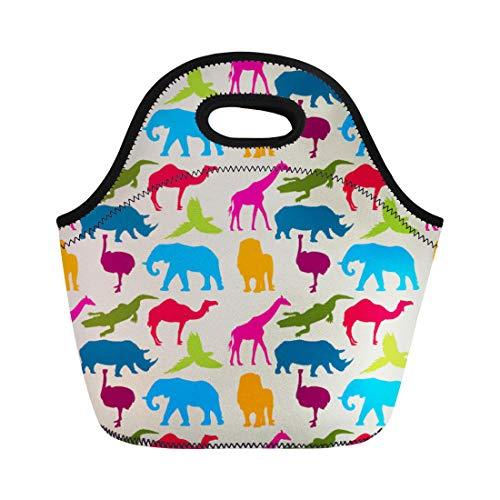 Semtomn Neoprene Lunch Tote Bag Elephant Animal Pattern Rhino Camel Ostrich Ara Crocodile Giraffe Reusable Cooler Bags Insulated Thermal Picnic Handbag for Travel,School,Outdoors,Work