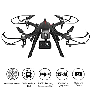Leoie Brushless Drone Support Gopro Action Cameras, RC Quadcopter MJX Bugs 3 Drone for Experienced, 18 Minutes Flying Time, 300 Meters Long Control Range (Black)