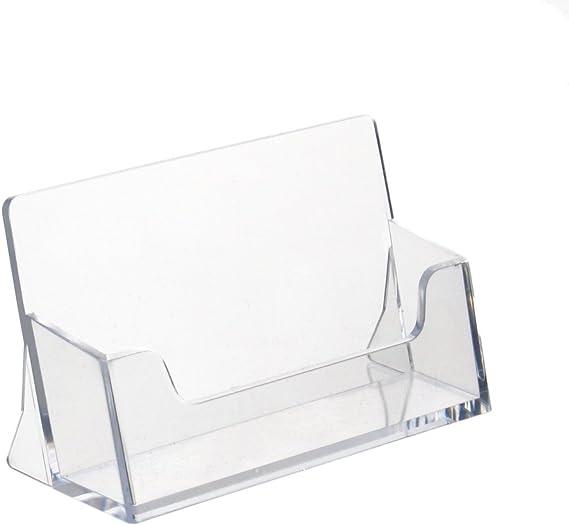 Visitenkartenhalter//Visitenkartenst/änder im Querformat transparent 4 Farben zur Auswahl Visitenkartenhalter Acryl Visitenkarten Aufsteller Kartenhalter Schreibtisch Stand