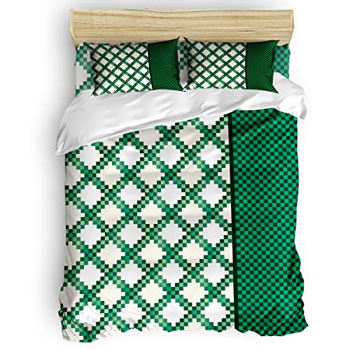 BABE MAPS Duvet Cover Set St. Patrick's Day Theme Irish Chain Ultra Soft Breathable Extremely Durable Twill Plush 4 Piece Bedding Sets for Childrens/Kids/Teens/Adults, Twin Size