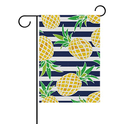 Vantaso Garden Flag Decorative Cute Summer Pattern Pineapple On Blue And White Stripe Polyester Double Sided Printing Fade Proof for Outdoor Courtyards Garden 12x18 inch