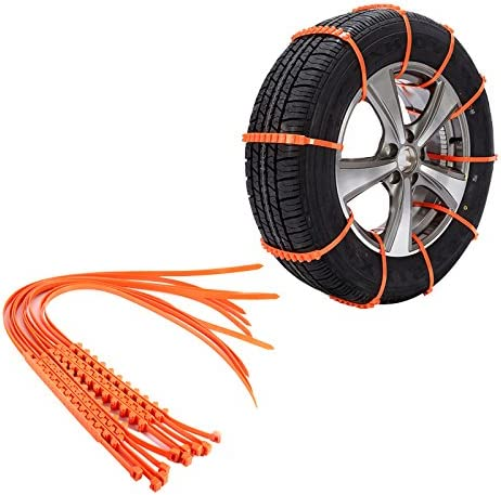 Cuque Emergency Snow Chain Snow Safety Non-Slip Tire Tyer Chain Thickening Tendon Reusable Car Universal 10pcs Nylon Material Orange Snow Chain