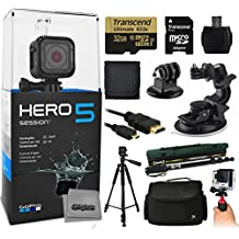 """GoPro HERO5 Session CHDHS-501 with 32GB Ultra Memory + MicroSD Reader + Suction Cup Mount + 67"""" Monopod + 60"""" Pro Series Tripod + Large Padded Case + Handgrip Stabilizer + HDMI Cable + More"""