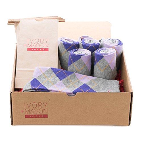 Ivory + Mason Groomsmen Socks - Men's Argyle - Light Grey Purple Color - Premium Cotton - Size 8-13 (6 Pairs) by Ivory + Mason
