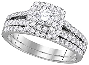 14kt White Gold Womens EGL Certified Diamond Round Bridal Wedding Engagement Ring Band Set 1.00 Cttw