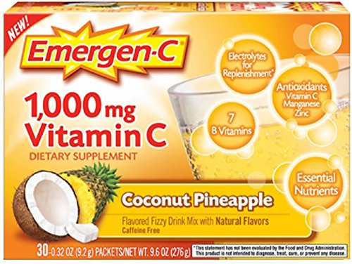Emergen-C 1000 mg Vitamin C, Coconut Pineapple 30 ea (Pack of 10) by Emergen-C