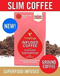 VitaCup Slim Blend Ground Coffee Bags 12oz | Diet & Metabolism | Garcinia & Ginseng | Keto & Paleo Friendly | Vegan | B Vitamins | for Drip Coffee Brewers and French Press from VitaCup