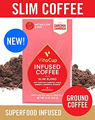 VitaCup Slim Blend Ground Coffee Bags 12oz | Diet & Metabolism | Garcinia & Ginseng | Keto & Paleo Friendly | Vegan | B Vitamins | for Drip Coffee Brewers and French Press